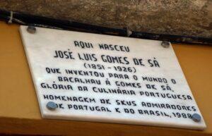 José Luís Gomes de Sá placa